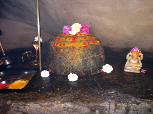 The stone Lingam of Lord Kalpeswar
