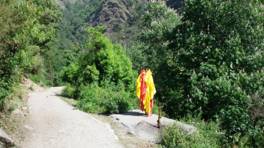 The trail from Devgram to Kalpeswar 2 : the flag is a marker that the cave-temple is nearby