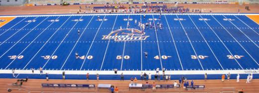Bronco Stadium unique blue turf