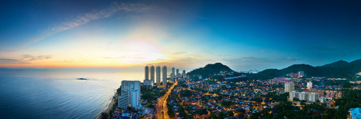 Aerial evening scene of Penang Island