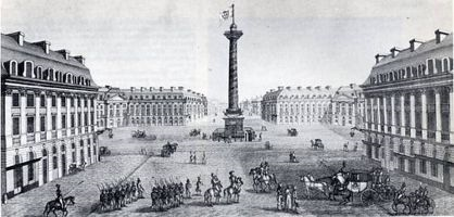 Place Vendome in 1814 with the troops of the 6th coalition. The Statue of Napoleon was replaced by a white flag