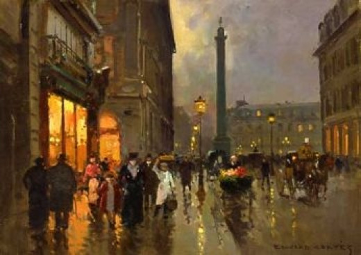 Rue de la Paix and place Vendôme by a rainy day by Edouard Léon Cortes