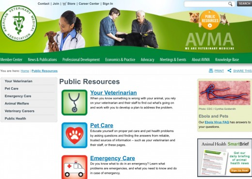The Public Resources section of the AVMA website