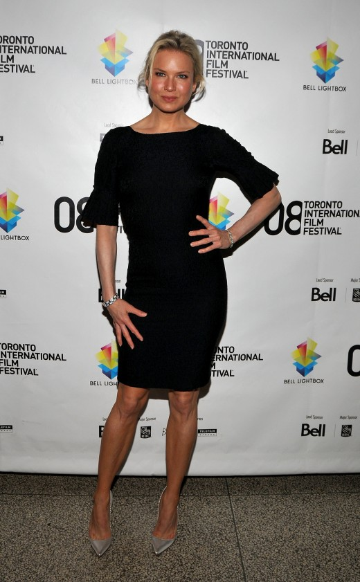 Renee Zellweger at the 2008 Toronto International Film Festival wearing a black dress and high heels