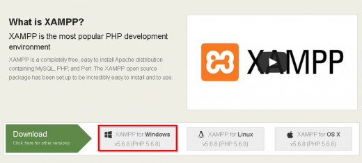 Download XAMPP for windows on Apachefriends.org
