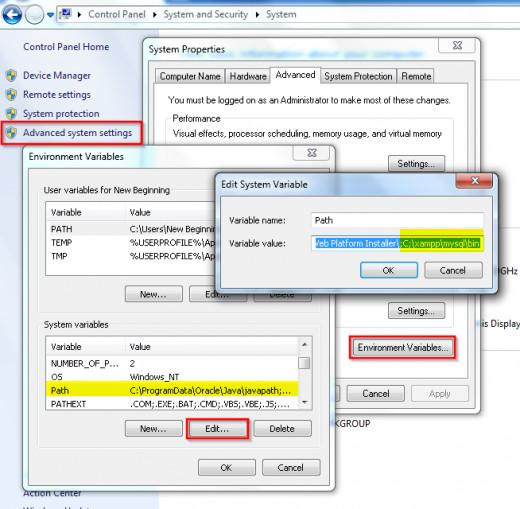 Adding XAMPP control panel and MySQL to Windows default execution path