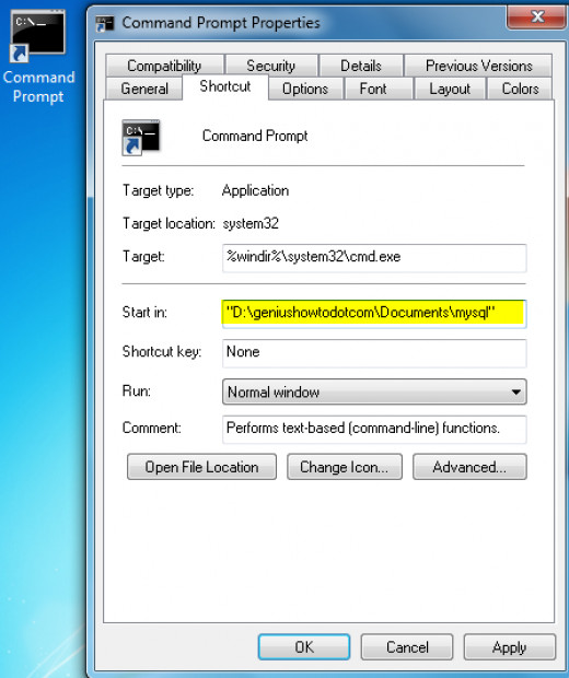 Add your desired non-system directory address in cmd.exe shortcut's start in path
