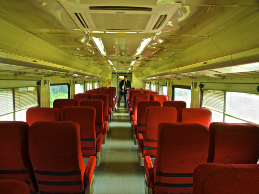 The interior of a second class car. The difference is minor between first and second class. Both have access to the dining car.