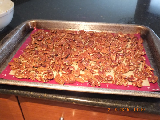 Spread the pecans out as evenly as possible for better cooking.