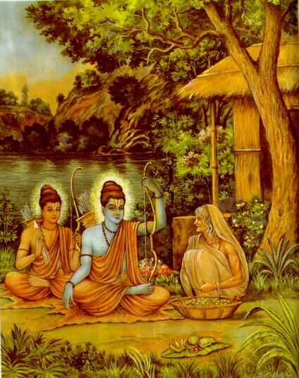 A modern print, of  Shabari feeding half eaten berries to Shri Ram