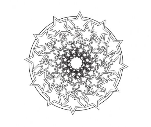 Stars Spiral Mandala Design