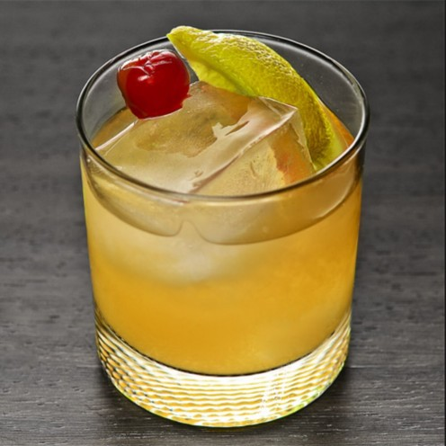 A smooth mix of Whiskey, and Sour Mix, on the rocks.