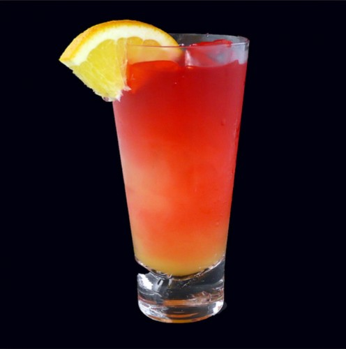A fruity blend of Vodka, Raspberry Liqueur, Dark Rum, and Pineapple Juice. Served on the rocks.