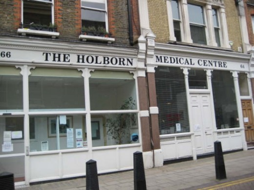 An NHS General Practitioner, the Holborn Medical Centre in London, WC1
