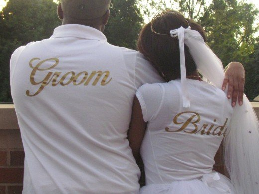 Their t-shirts as Bride and Groom displayed their intentions at the Bridal Shower.
