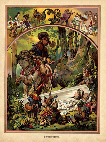 Snow White illustration from German children's book 1919. Licensed under Public Domain via Wikimedia Commons -