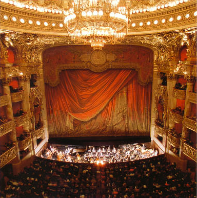 The curtain about to rise at the Paris Opera