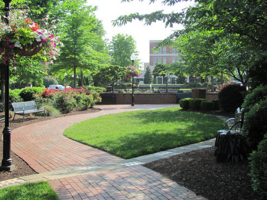 Downtown Spartanburg green-space.
