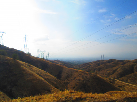 You can see pylons along the hills. The view was slightly foggy/smoggy on this day.