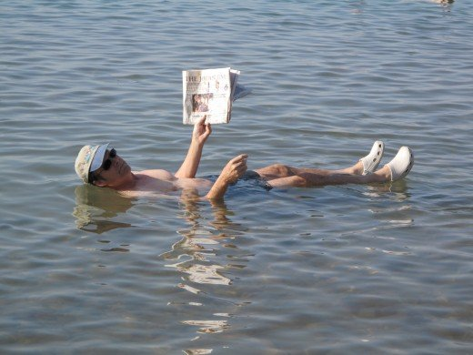 Floating on the Dead Sea in Jordan