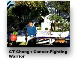 C T Chang sitting in the compound of Gerson Clinic, Mexico