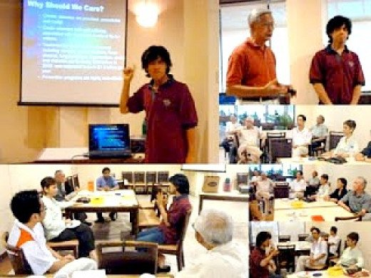 "Chang presenting a talk on ""Why Should We Care"" April 10, 2011,  at the Royal Lake Club, Kuala Lumpur, Malaysia."