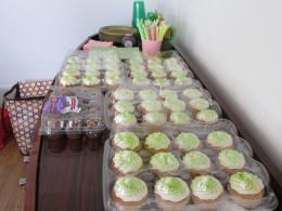 """A tasteful display of """"Sybil's cupcakes which were absolutely delicious included a bride and groom specially designed cupcakes."""