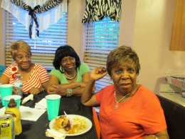 Aunts Lean, from North Carolina along with aunt Tina joked with the bride.