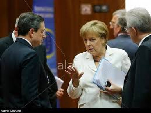 Merkel, Draghi (Head of ECB) and Junker