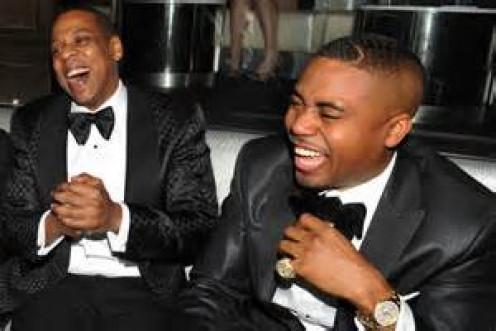 Jay Z and Nas went from bitter New York rivals to friends as evidenced by this photo. Jay Z eventually married r and b diva, Beyonce.