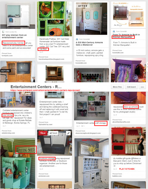 I gathered ideas on Pinterest for ways to use a big entertainment unit. These helped me give people ideas so they would be willing to take it.