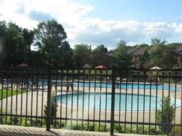 The pool area where the bridal shower was held.