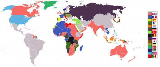 A world divided by empires and colonies in 1914, just before the war broke out.