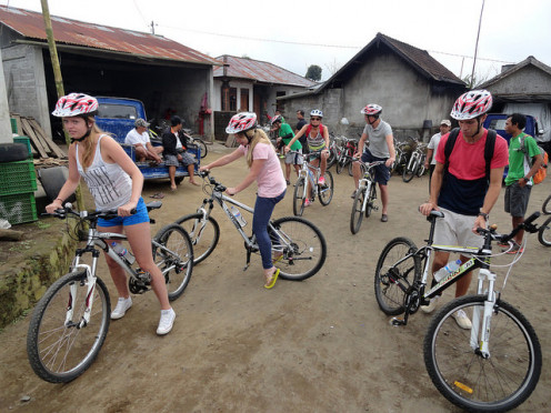 Cycling in Bali, from Mount Batur to Ubud downhill by bike, Indonesia.