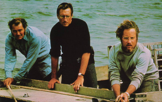 "Robert Shaw, Roy Scheider and Richard Dreyfuss star in ""Jaws"" -- a 1975 movie about a huge great white shark that caused much wariness about swimming in the ocean."