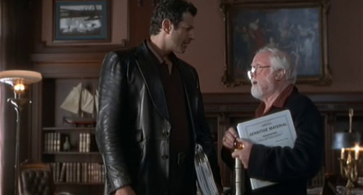 """Dr. Ian Malcolm reluctantly agrees to John Hammond's proposition to go to """"Site B""""."""