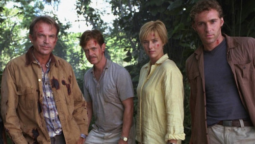 Dr. Grant poses for a photo with the gang of IQ deficient derelicts he must babysit in Jurassic Park III.