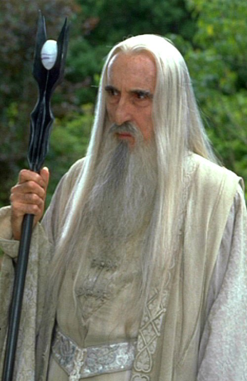 Saruman portrayed by Christopher Lee