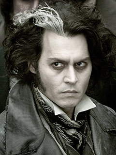Sweeney Todd portrayed by Johnny Depp