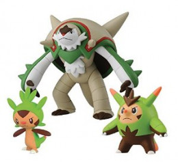 Chespin (left), Quilladin (right), and Chesnaught