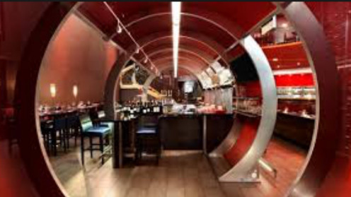 "The ""portal"" upon entering the restaurant that takes you to London, England."