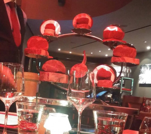 The table side 'Meat Trolley' at Gordon Ramsay Steak.