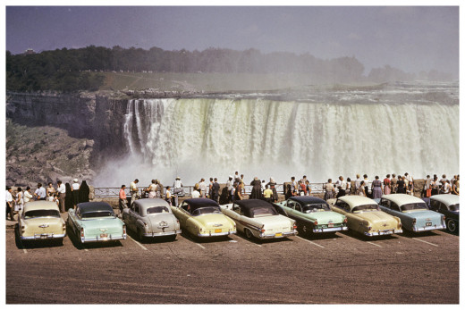 50s people line up to see Niagara Falls 12 x 8 poster for sale on Etsy.