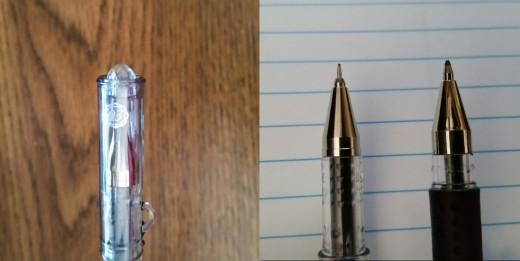 Left: Closer look a the Pilot Hi-Tech-C Maica's cap. Right: Tip compared to a regular gel pen.