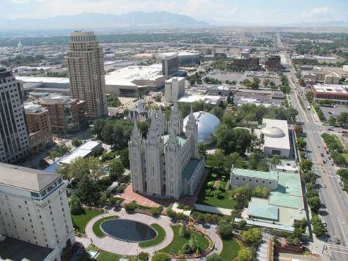 Salt Lake City downtown area, centering on the Mormon Temple headquarters.