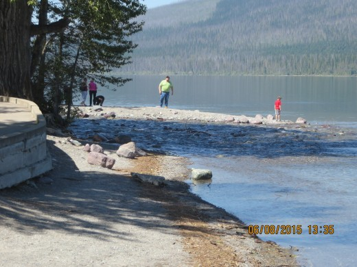 """LAKE McDONALD LODGE """"BEACH"""" (yes. they actually swim there!)"""