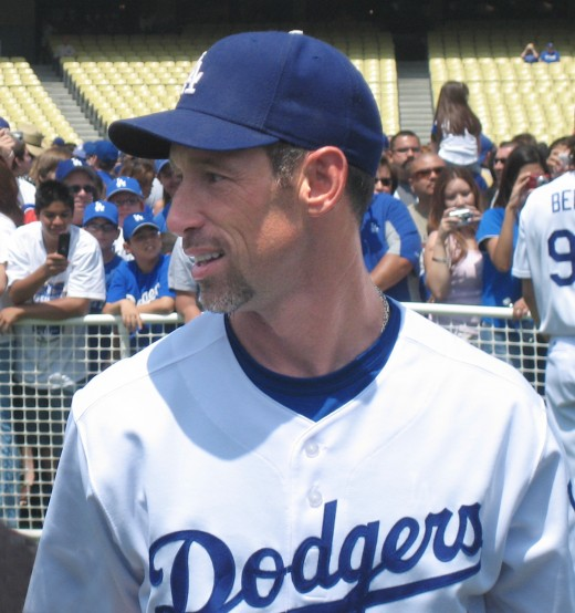Luis Gonzalez as a member of the Los Angeles Dodgers. Gonzalez totaled 1337 hits as a Diamondback
