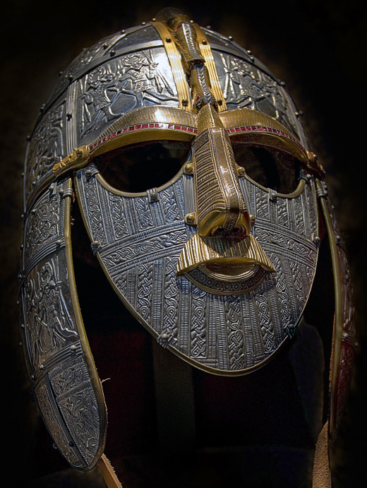 The reconstructed 7th Century Sutton Hoo helm, believed to have been East Anglian king Raedwald's parade wear (Room 41, British Museum)