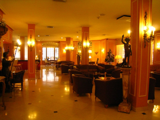 Lobby at Hotel Arosa in Spain.
