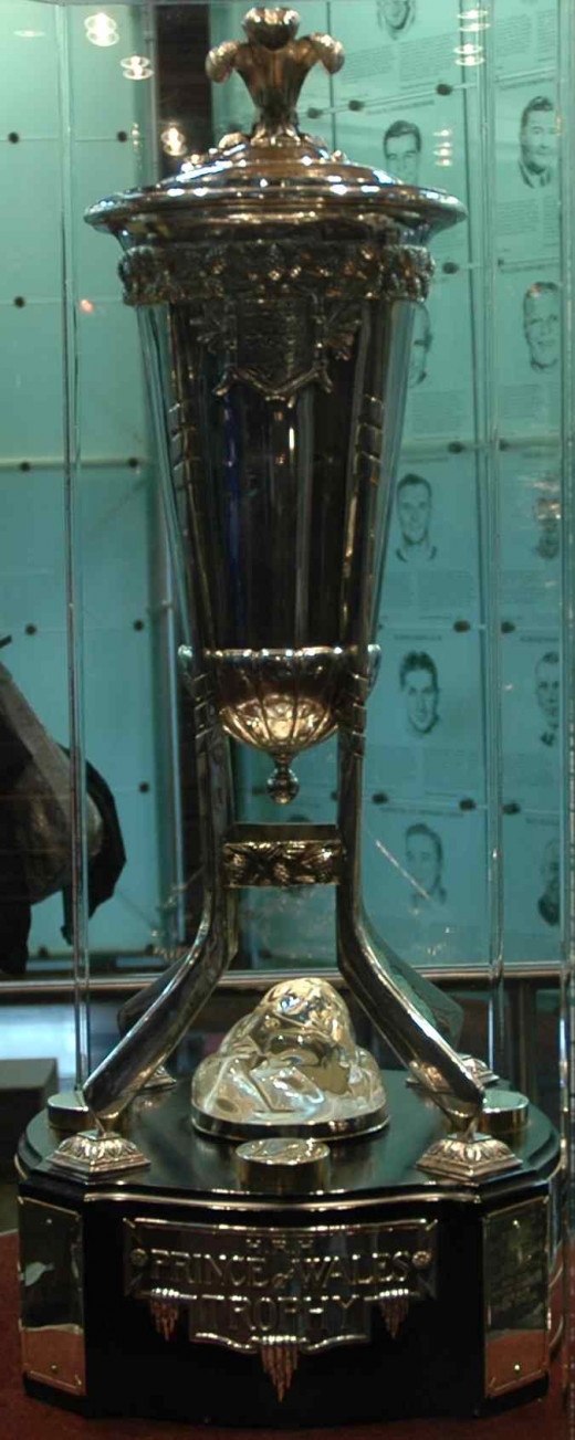 The Prince of Wales trophy, awarded to the team that wins the Eastern Conference Final (round 3) of the playoffs.